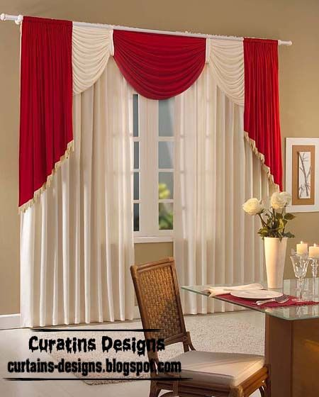 Modern Curtain Designs Red And White Curtains Window
