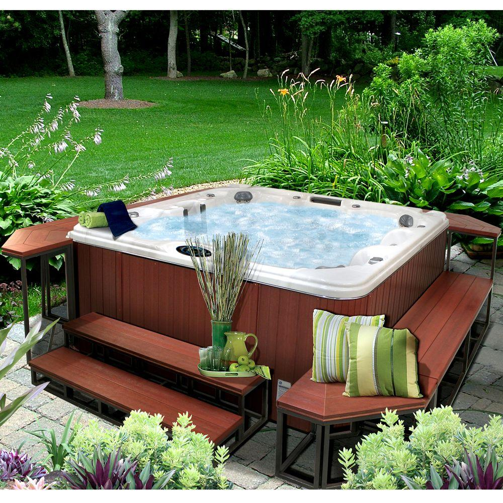Cal Metro 21 In X 58 In X 14 In 2 Tier Spa Step In Mahogany Cm956 Csm The Home Depot In 2020 Hot Tub Patio Hot Tub Landscaping Hot Tub Outdoor