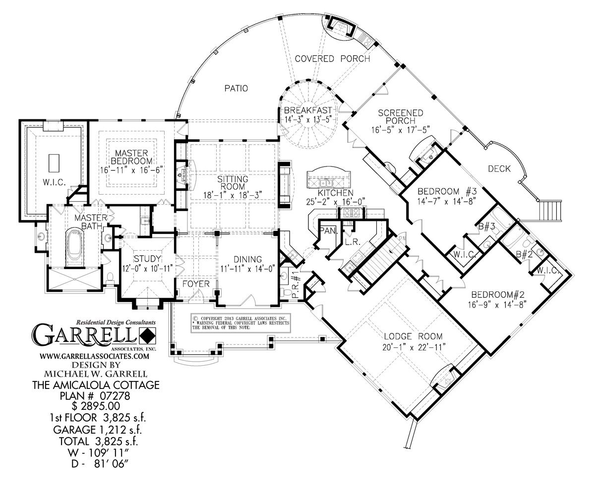 Amicalola Cottage Drive Under Plan 07278, 1st Floor Plan ...