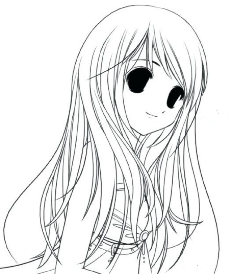 Long Hair Coloring Pages For Girl Anime Cartoon Drawings Coloring Pages For Girls