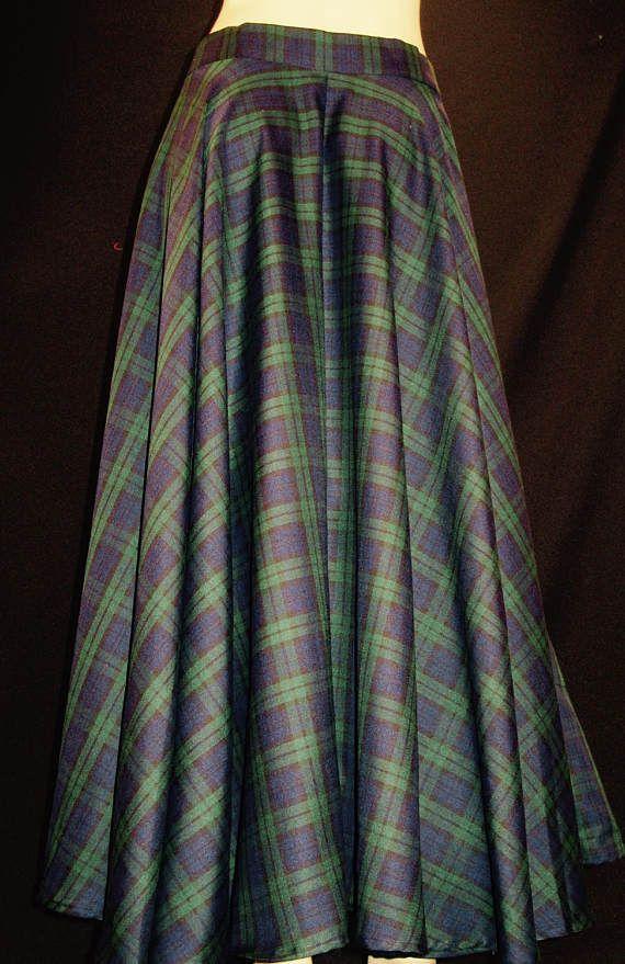 62f67c892 High Waist Ankle Length Plaid Skirt~Tartan Plaid Royal Stewart Black watch  Green Red Plaid Full Circle Maxi Skirts Custom Make@sohoskirts