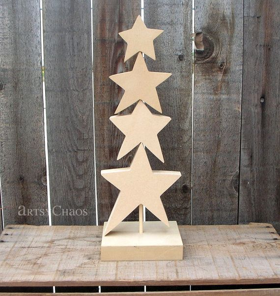 Unfinished Wood Star Christmas Tree For