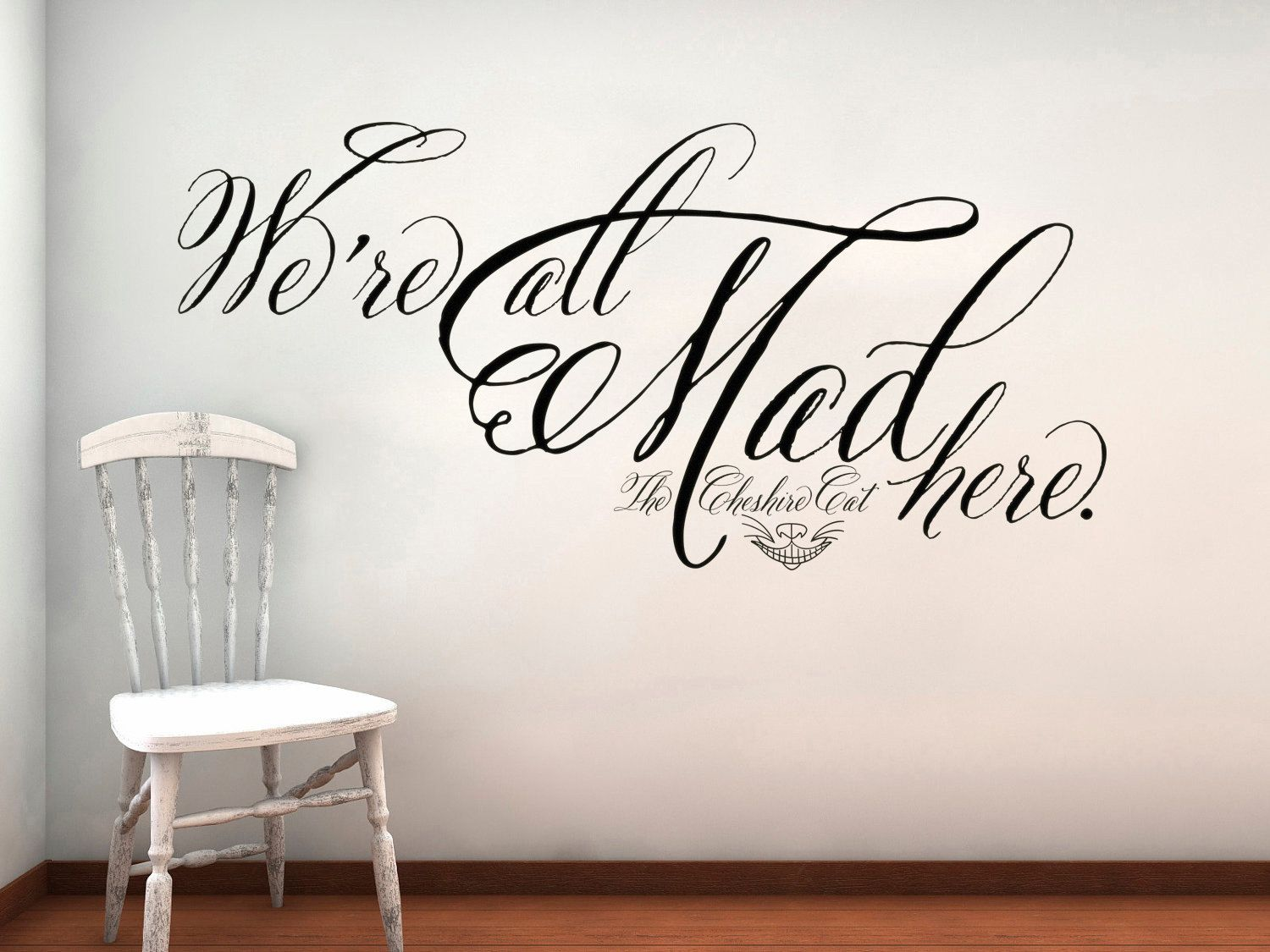 Alice in wonderland cheshire cat were all mad here wall decal alice in wonderland cheshire cat were all mad here wall decal lettering sticker amipublicfo Images