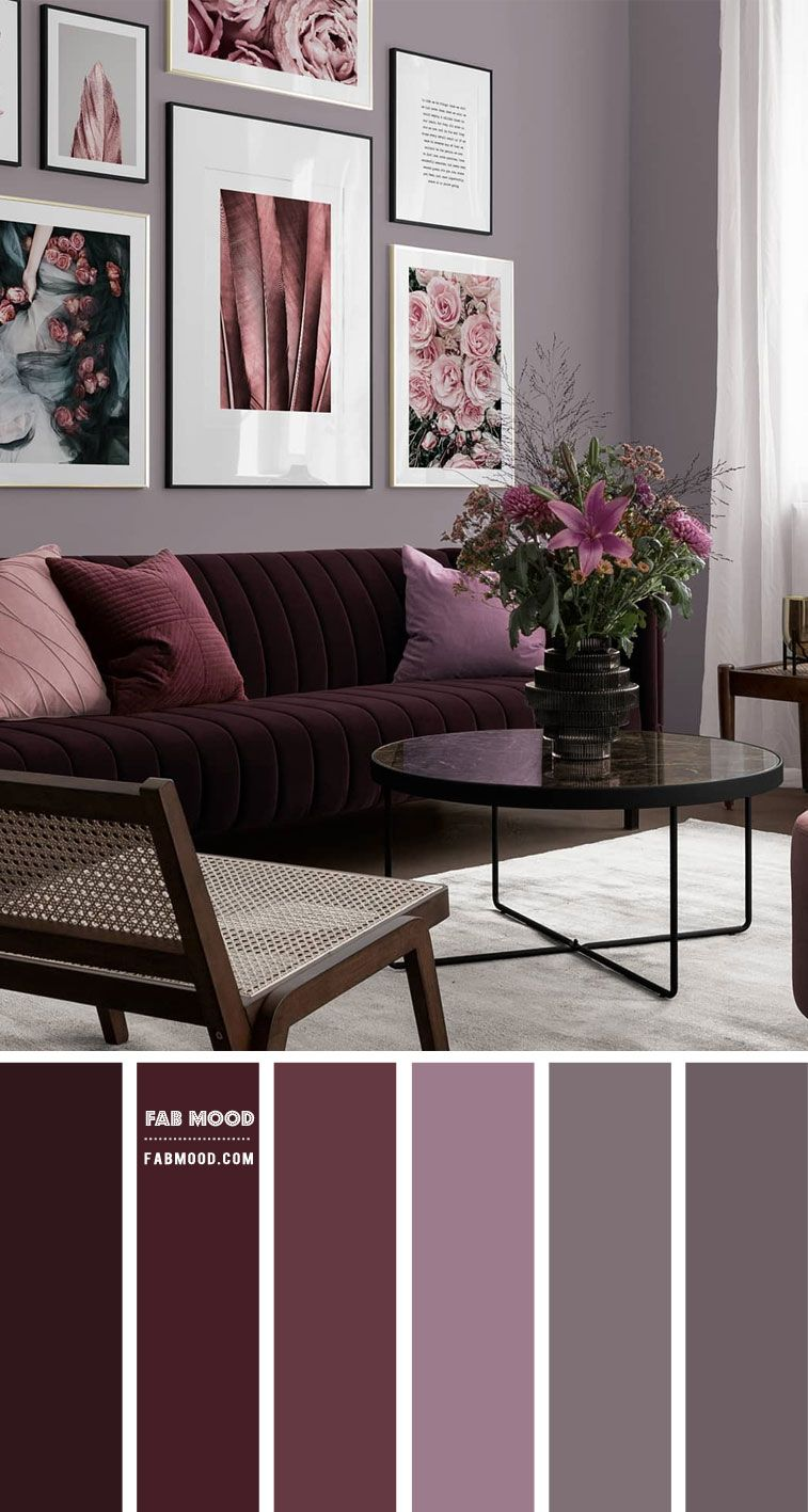 Retro Living Room in Berry Shades