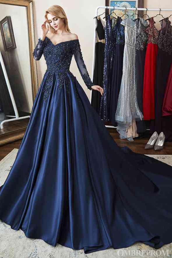 Off Shoulder Long Sleeve Prom Dress