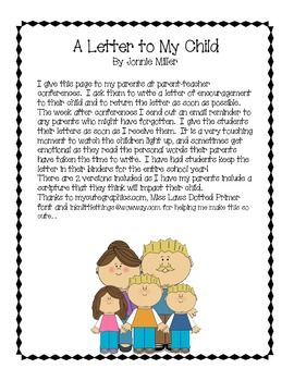 A Letter To My Childby Jonnie Milleri Give This Page To My Parents