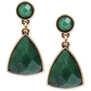 Lucky Brand Earrings Gold Tone Green Stone Drop