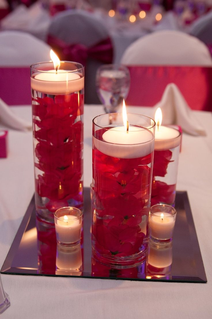 3 Cylinder Candle Centerpiece With Mirror And Votive Candles And Any