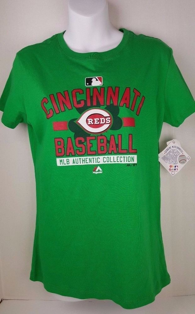 Cincinnati Reds Womens T Shirt Green Irish St Patrick XL 2XL MLB Baseball