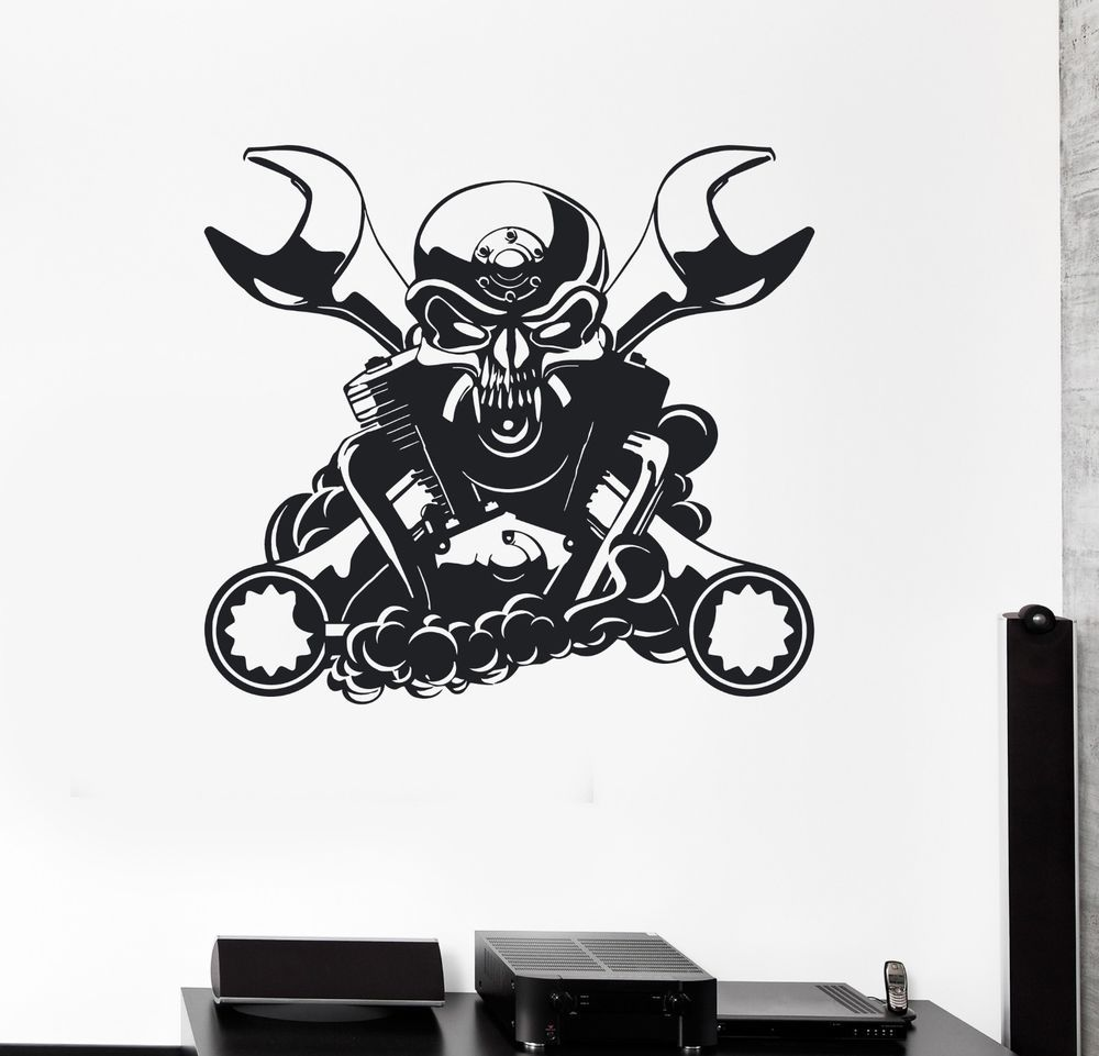 Wall decal engine for car mechanic garage decor skull vinyl stickers ig2846 wallstickers4you