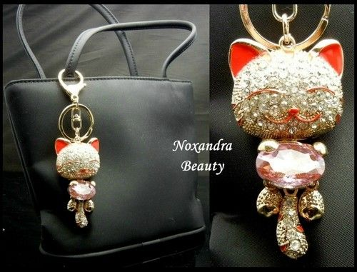 TK117 Big Austrian Crystal Red Happy Cat Key Chain Bag Purse Charm New | eBay