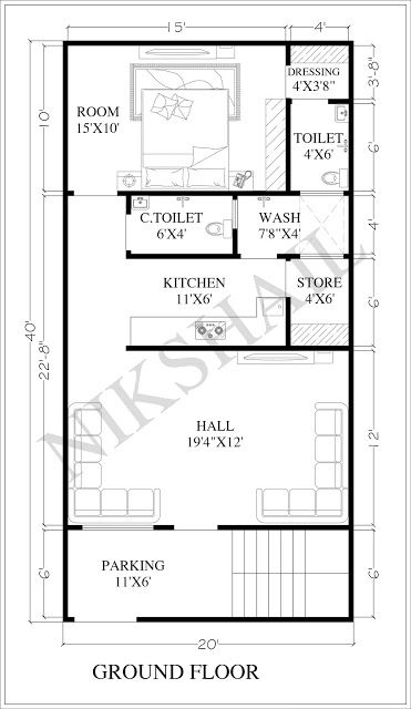 20x40 House Plan With 3d Elevation By Nikshail 20x40 House Plans Free House Plans Budget House Plans