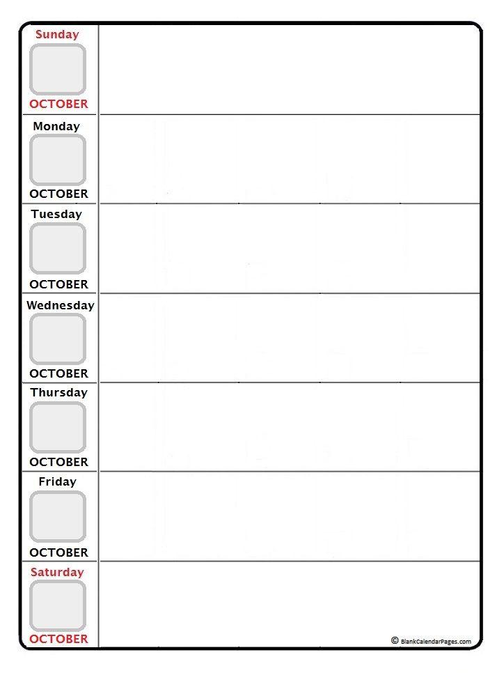 October Daily Calendar Printable  Printable Calendars