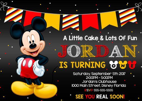 Mickey Mouse Invitación Mickey Mouse Mickey Invitación