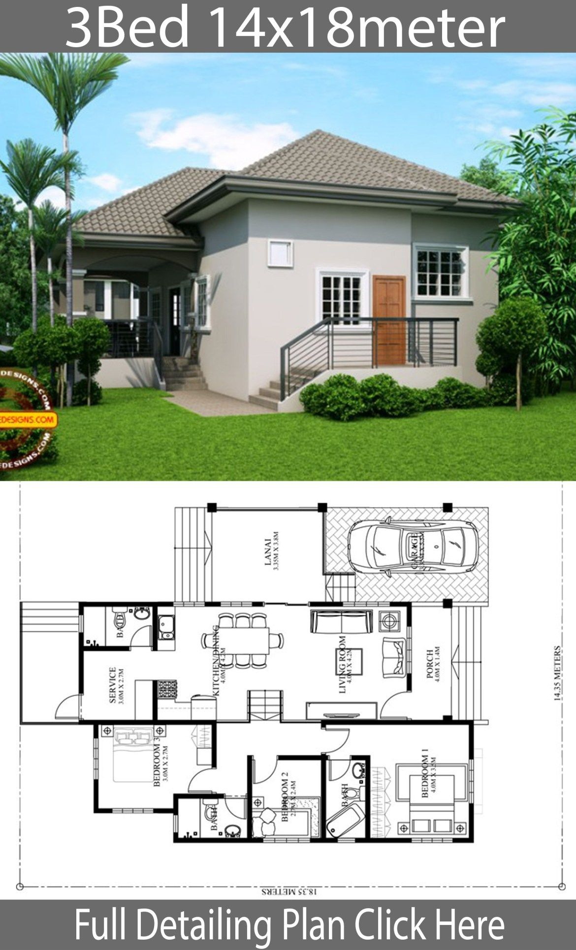 Home design plan 14x18m with 3 Bedrooms (With images
