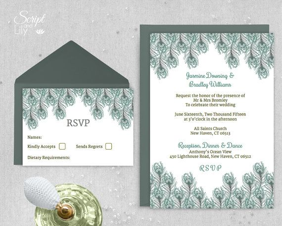 Stunning invitation templates for mac contemporary example peacock feather wedding invitation template 1920s gatsby style stopboris Images