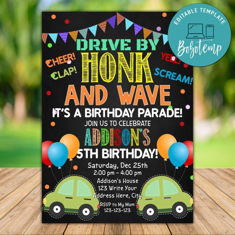 Drive by Birthday Party Invitation Template Instant Download