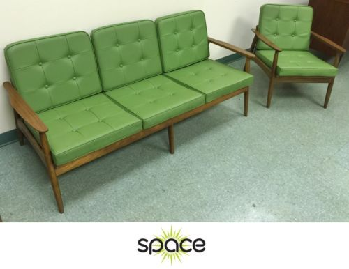 Items Similar To Vintage Wood U0026 Green Vinyl Mid Century Danish Modern Sofa  And Chair Set On Etsy