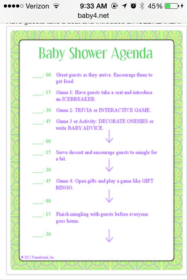 Baby shower itinerary baby shower ideas pinterest for Bridal shower itinerary template