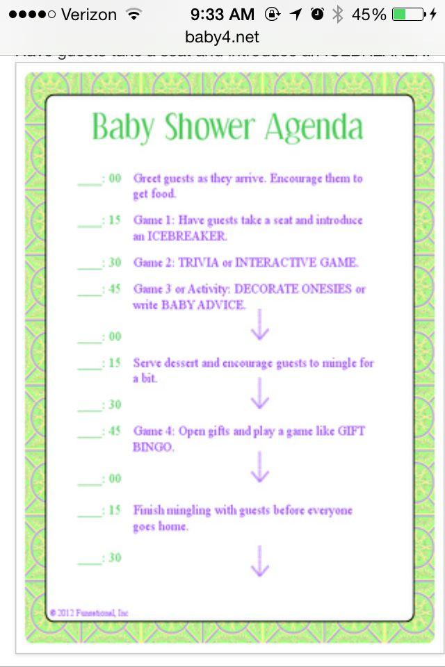 Baby shower itinerary