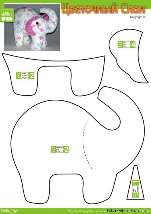moldes para hacer un elefante de peluche | manualidades de tela ...