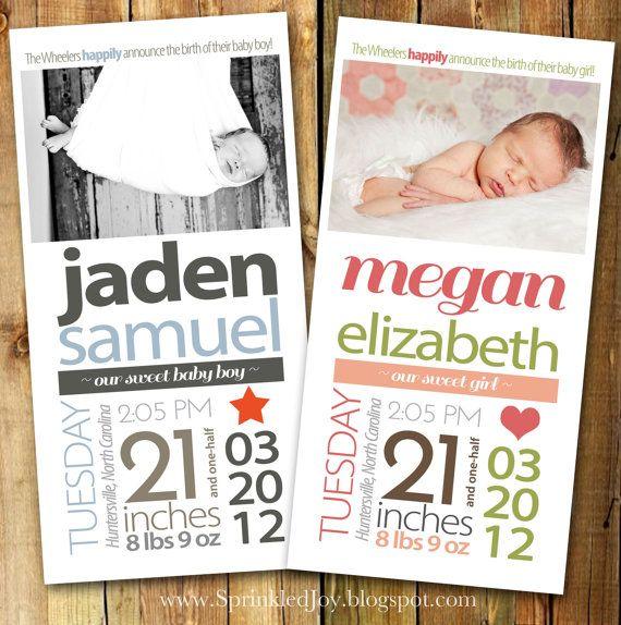 Newborn Stats Birth Announcement, Size 4x8 - PRINTABLE file.