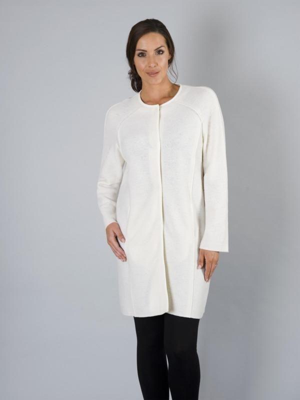 Chesca Cream Round Neck Merino Wool Coat | Special Occasion Coats ...