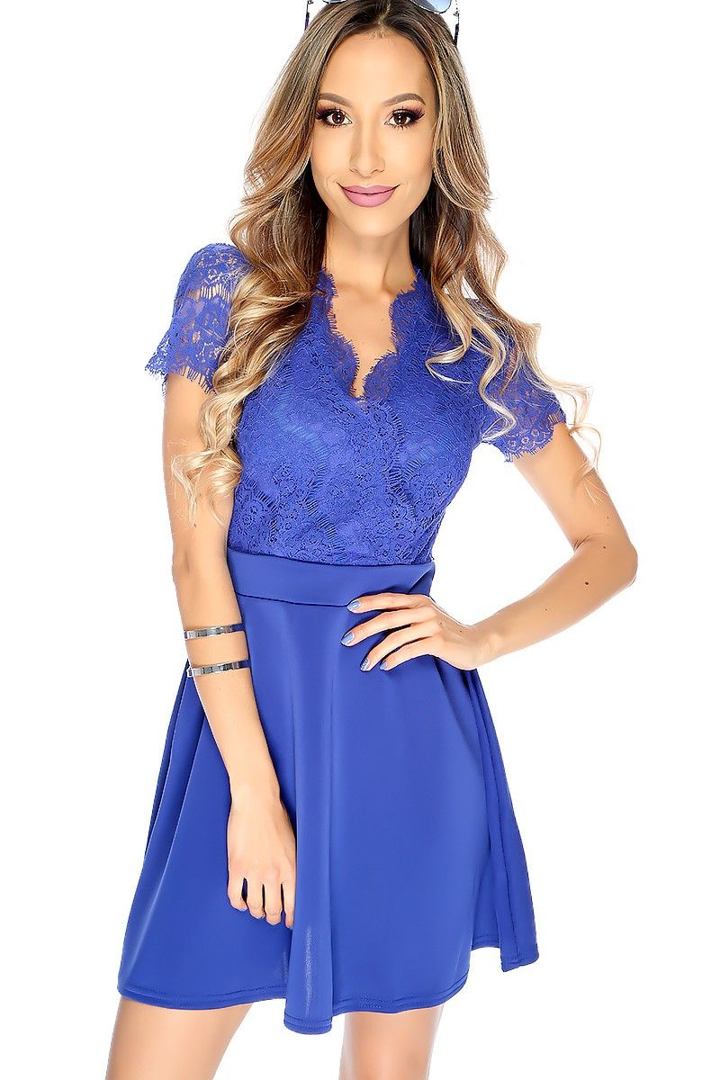 Casual dresses to wear to a wedding  Sexy Royal Blue Lace Detailing Short Sleeve Aline Casual Dress