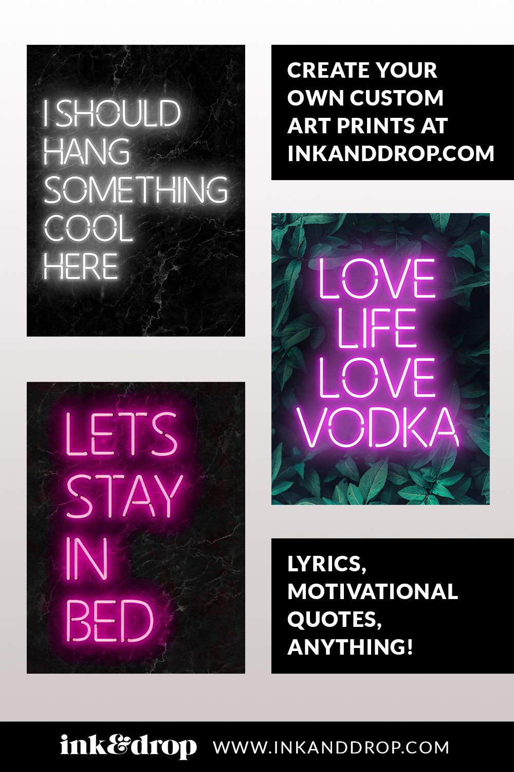 Amazing, customisable Neon art prints in all different colours and styles. Typography and motivational quotes for your wall decor. Create a truly unique home interior style with a custom art poster! #neon #neonart #inkanddrop #typography #inspirational #motivational #feelgood
