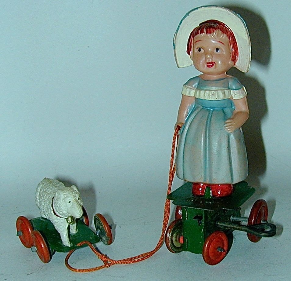 Celluloid Wind-up Mary & Her Little Lamb Japan 1930s Outstanding Condition