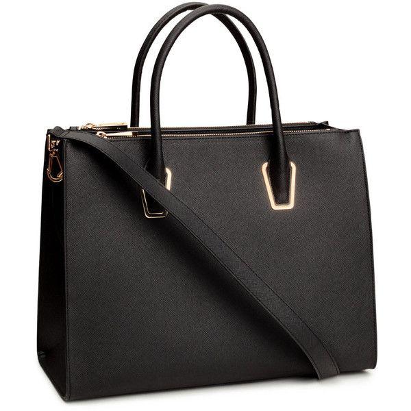 H M Handbag 46 Liked On Polyvore Featuring Bags Handbags Black Studded Purses Zip Bag Long And
