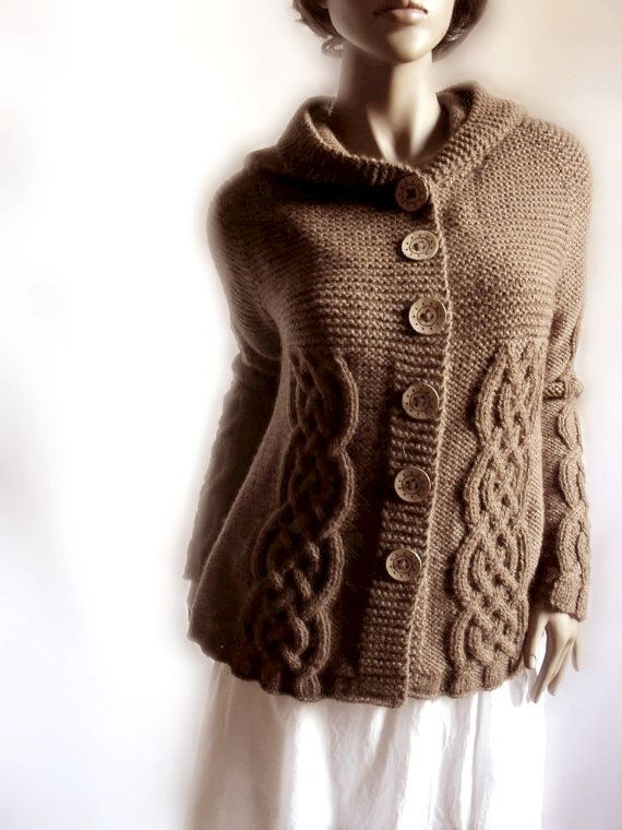 Hand Knit Sweater Womens Cable Knit Cardigan Hooded Coat Chocolate ... 0a6e8b7d02329