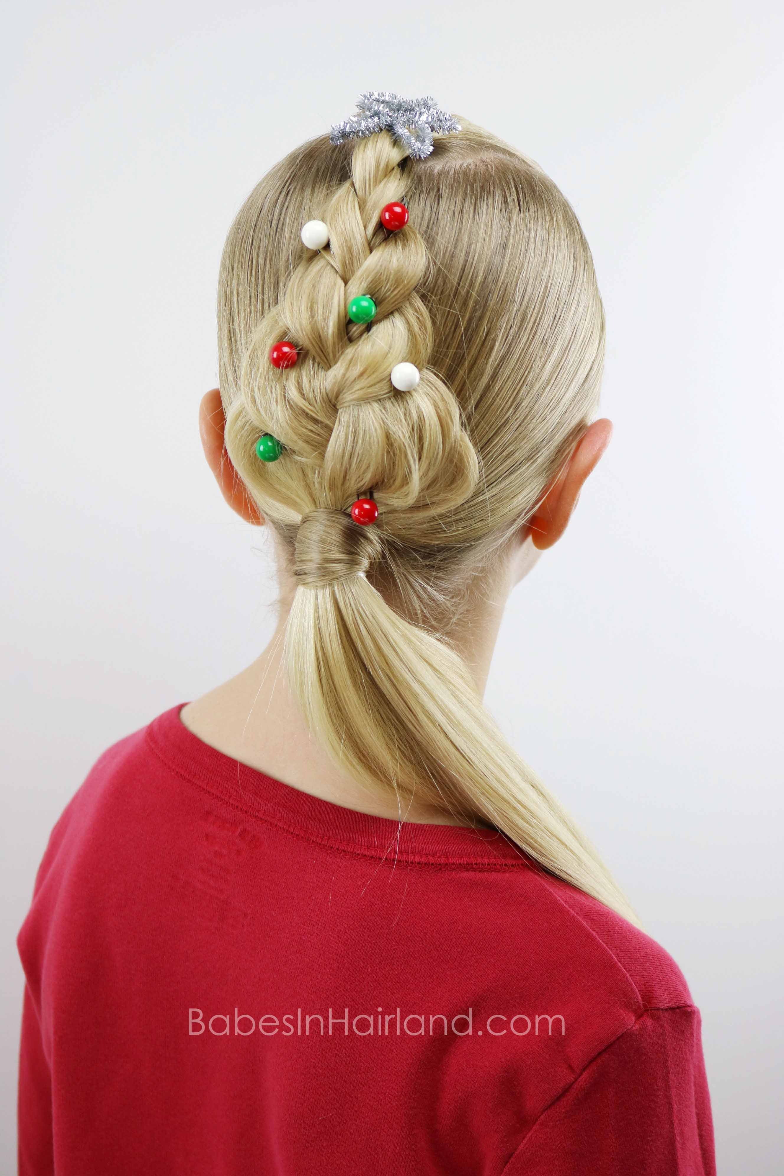For an easy christmas hairstyle try this cute christmas tree braid