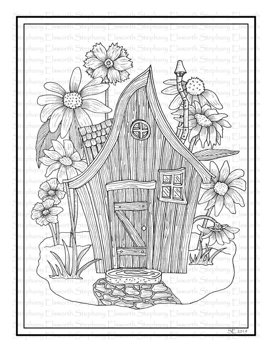 Fairy House With Wildflowers Printable Coloring Page Coloring