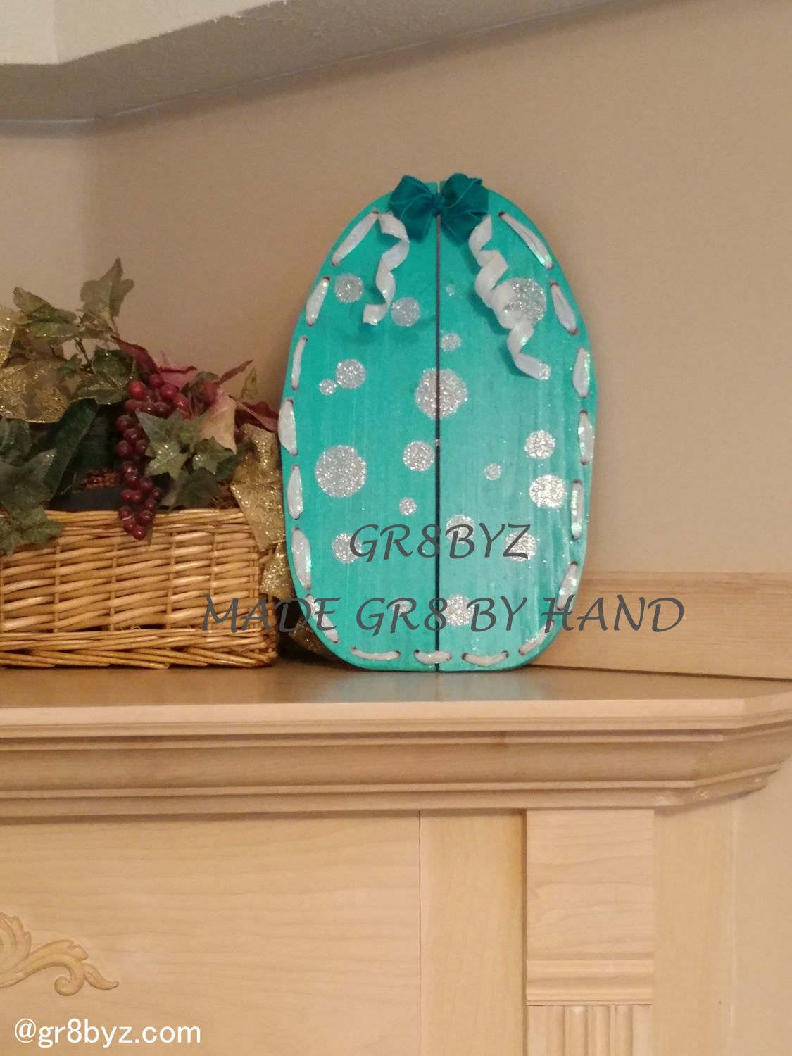 Easter Egg Wood Wall Hanging With Bow Made From Reclaimed