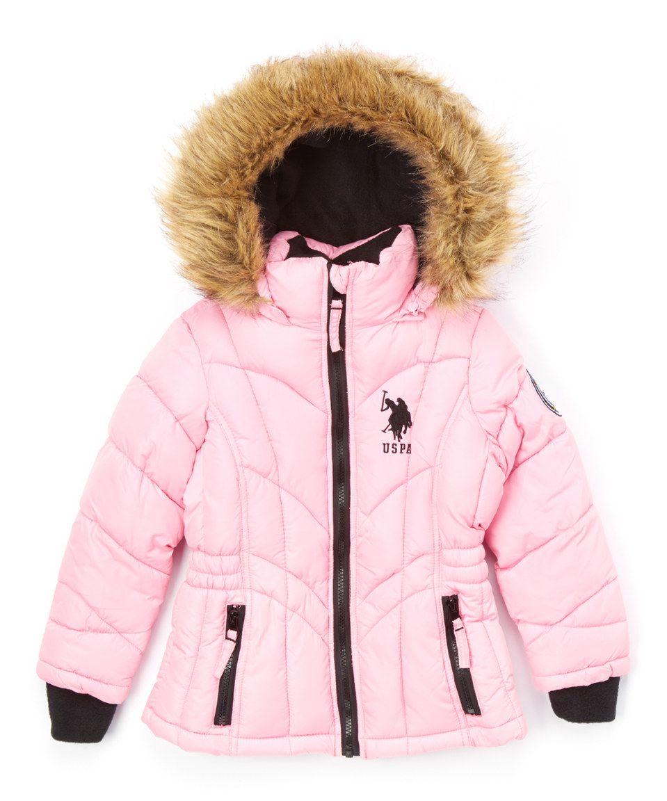 ffb1379e47a U.S. Polo Assn. Light Pink Faux Fur-Trim Hooded Puffer Coat - Toddler    Girls by U.S. Polo Assn.  zulilyfinds