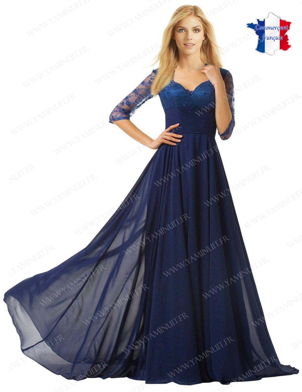 Robe de soiree longue bleu roi