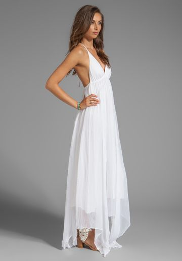Alice Olivia Bade Triangle Top Halter Dress In White Dresses White Bohemian Dress White Dress Casual Wedding Dress