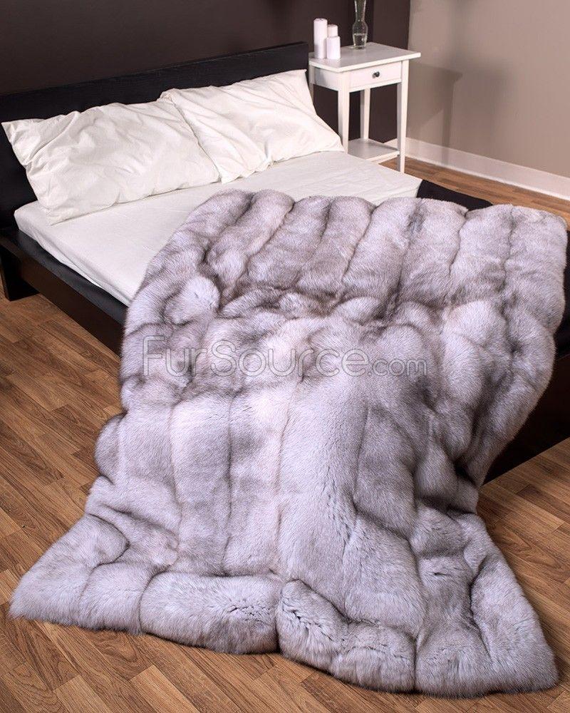 Luxury Soft Real Rabbit Rex Fur Throw Warm Large Sofa Bedspread Blanket Queen