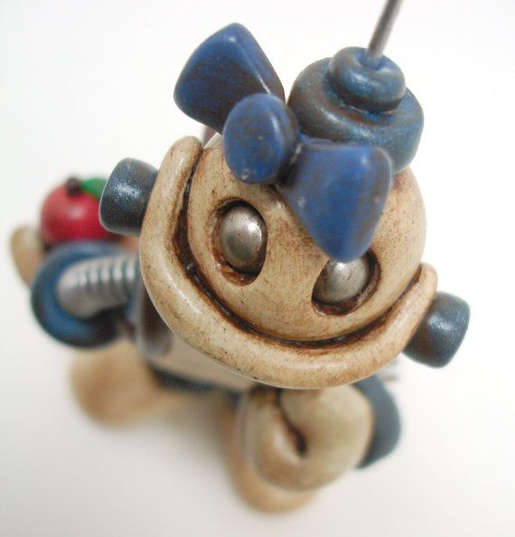 Robot Sculpture Back to School Girl  Blue by RobotsAreAwesome