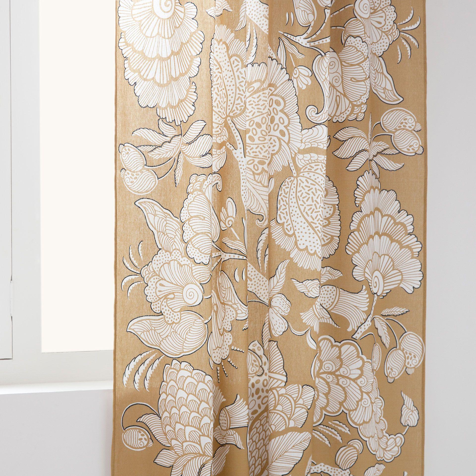 Gardine Aus Baumwolle Und Leinen Mit Print Vorhange Dekoration
