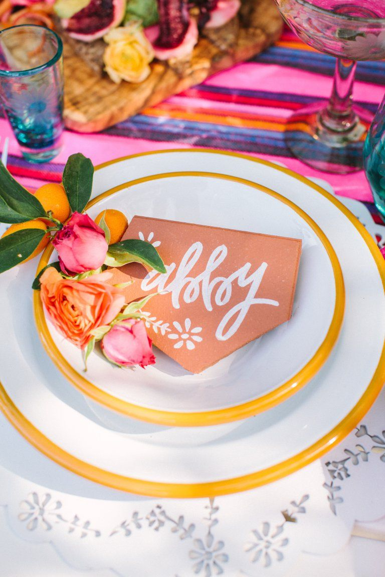Fiesta- table setting / name tag lettering on terra-cotta ...