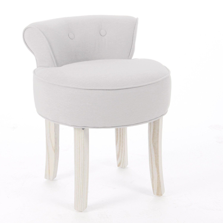 Vanity stool - LINEN and COTTON - Colour BEIGE: Amazon.co.uk ...