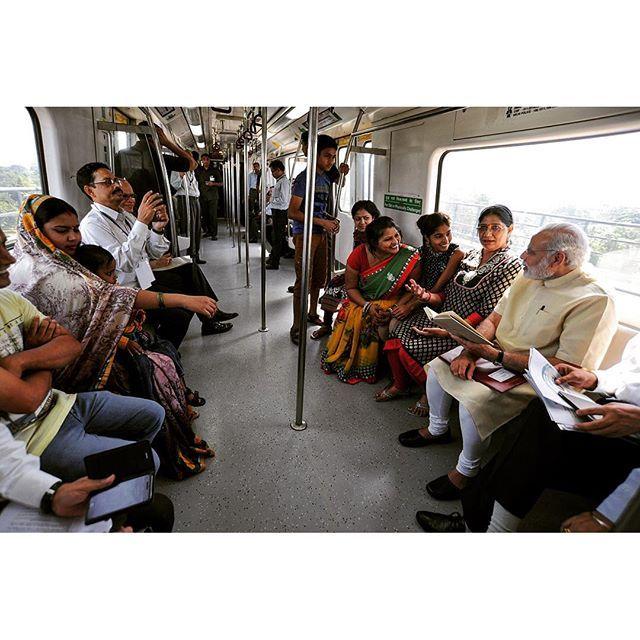"""A memorable ride & great conversations. #Metro"" Photo taken by @narendramodi on Instagram, pinned via the InstaPin iOS App! http://www.instapinapp.com (09/06/2015)"