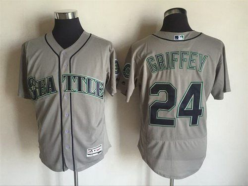 Men's Seattle Mariners #24 Ken Griffey Jr. Retired Gray Road 2016 Flexbase Majestic Baseball Jersey