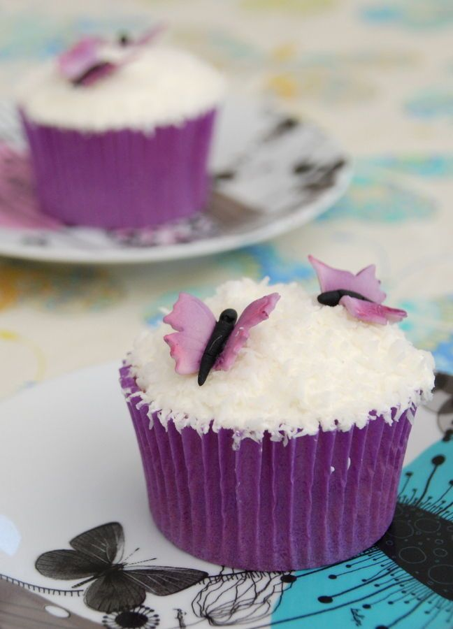 Recipe for Butterfly Swarm Coconut Cupcakes