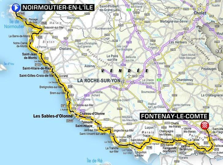 Map Of France Vendee.Grand Depart Tour De France 2018 Vendee Day 4 Tour 8 2018 Le Tour