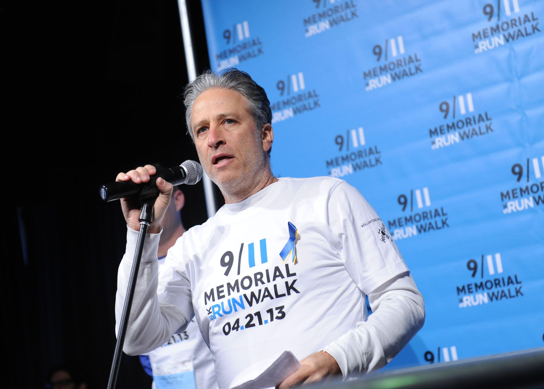 Jon stewart at the 911 memorial 5k runwalk family day