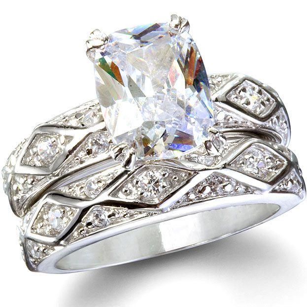 The Princess Bride Sterling Silver CZ Wedding Ring Set