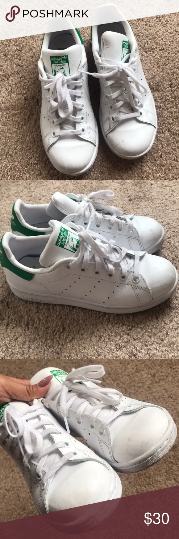 finest selection 363d2 0e50d Adidas Stan Smith with Green Trim Barely worn Adidas Stan ...